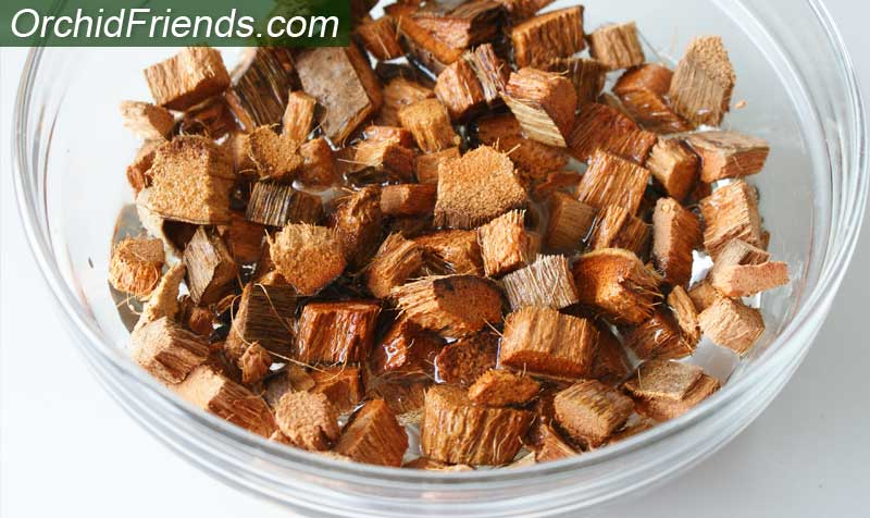 Pre-treat your coconut husk chips