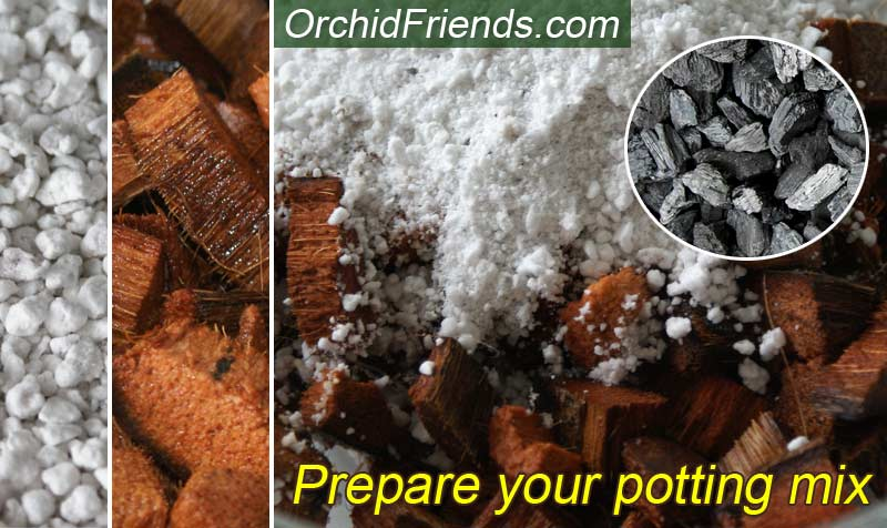 Prepare husk coconut chip mix for orchids